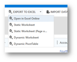 my five options for exporting to excel are